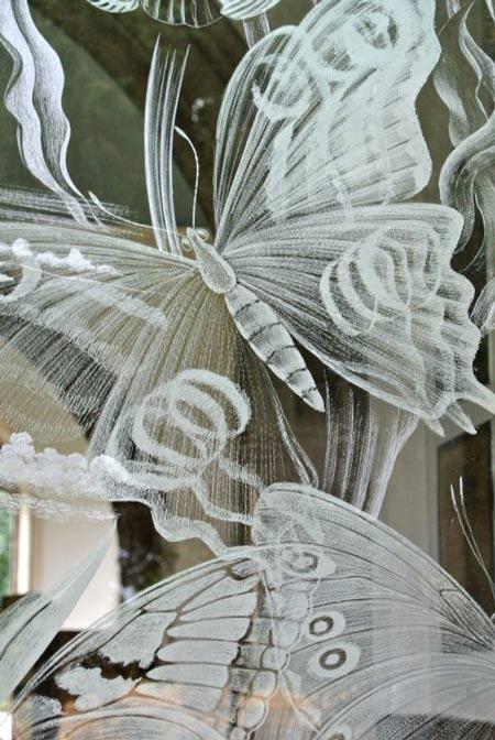 Butterflies, detail of engraved glass at Moreton Church, Dorset