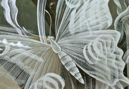 Detail of etched glass at Moreton Church
